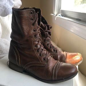 Steve Madden brown leather combat boots